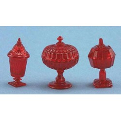 CANDY DISHES, 3PC, RED