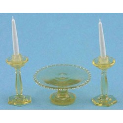 CAKE PLATE W/2 CANDLES, AMBER