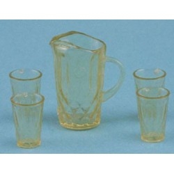 PITCHER W/4 GLASSES, AMBER