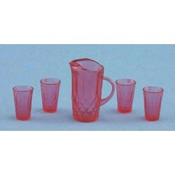 PITCHER W/4 GLASSES, CRANBERRY