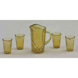 PITCHER W/4 GLASSES, DARK AMBER