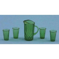 PITCHER W/4 GLASSES, EMERALD GREEN