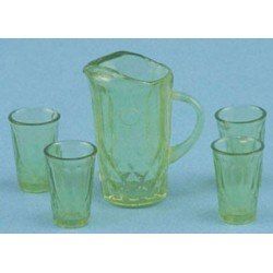 PITCHER W/4 GLASSES, GREEN