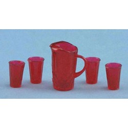 PITCHER W/4 GLASSES, RED