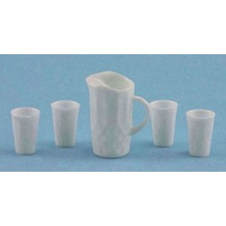 PITCHER W/4 GLASSES, WHITE