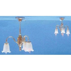3 DOWN-ARM FROSTED TULIP SHADE CHANDELIER 1/2 SCALE