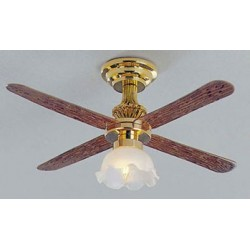 &MH719: CEILING FAN W/LG TULIP SHADE
