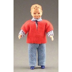 BOY IN JEANS W/RED SWEATER