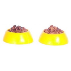 DOG DISH, YELLOW, 2PCS