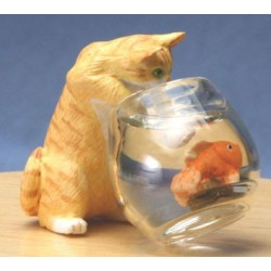 CAT W/FISH BOWL, ORANGE