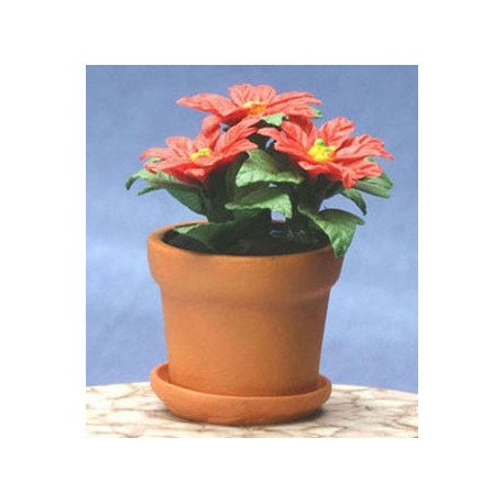 POINSETTIA IN POT, 3 RED FLOWERS