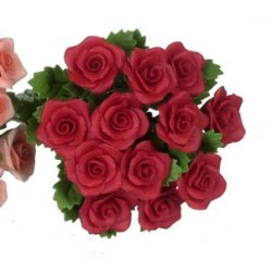 ROSE, RED W/LEAF, 1 DOZEN