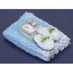 TOWEL SET, BLUE,W/LOTION