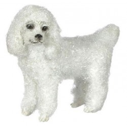 STANDING POODLE WHITE W/HAIR