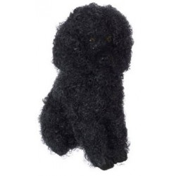 SITTING POODLE, BLACK W/HAIR