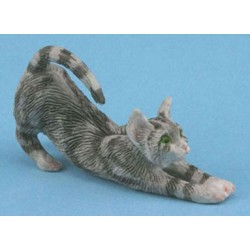 STRETCHING, GRAY, CAT