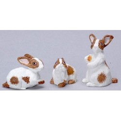 RABBIT SET OF 3/BROWN + WHITE