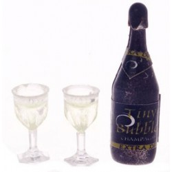 CHAMPAGNE BOTTLE W/TWO GLASSES, FILLED
