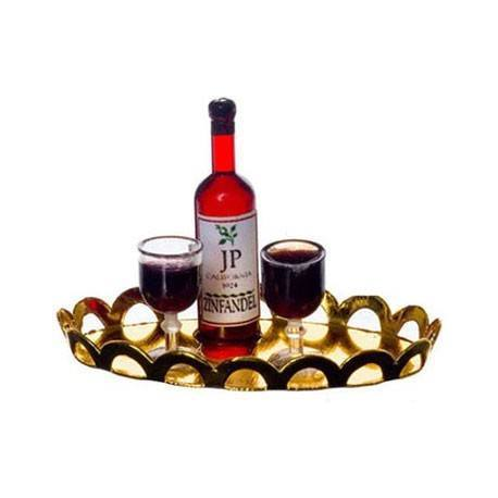 RED WINE, 2 GLASSES, TRAY