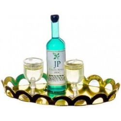 WHITE WINE, 2 GLASSES, TRAY