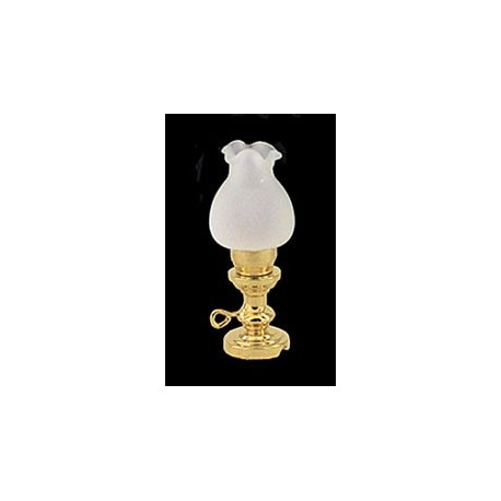 OIL LAMP W/FLORAL FROSTED GLASS SHADE