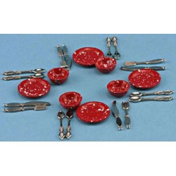 8PC RED ENAMEL DISHES