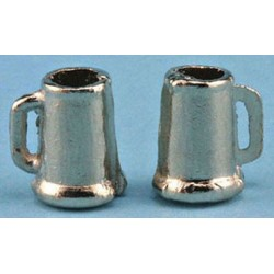 PEWTER BEER MUGS, 2PK