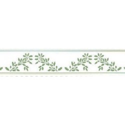 BORDER: ACORNS, GREEN ON WHITE