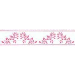 BORDER: ACORNS, PINK ON WHITE