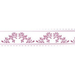 BORDER: ACORNS, PURPLE ON WHITE