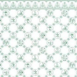 6 pack 1/2 Scale Dutch Tile, Green On White