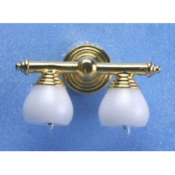 Brass Double Wall Lamp W/White