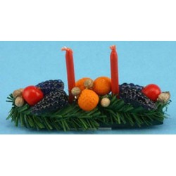 CENTERPIECE W/FRUIT & CANDLES