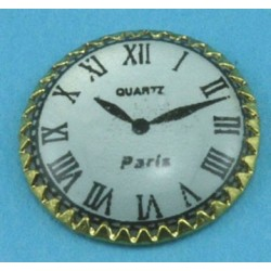 OLD STYLE CLOCK FLAT BACK BRT. GOLD