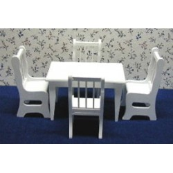 WHITE TABLE/CHAIR SET, 5PC