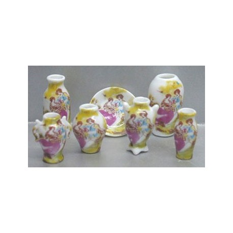 7 PC VASES/PLATE-FIGURES