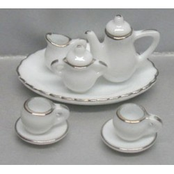 10 PC WH/SILVER TRIM TEA SER-RND