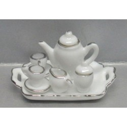 10 PC WH/SILVER TRIM TEA ST-SQR