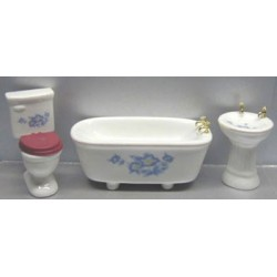 3PC BLUE FLORAL BATH SET