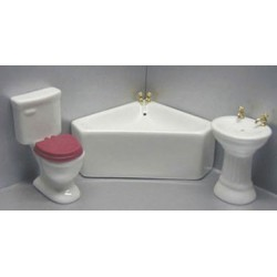 WHITE CORNER TUB BATH, 3PC