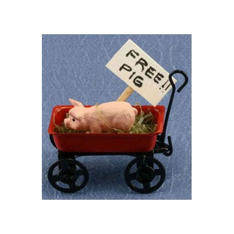 PIG IN RED WAGON