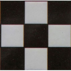 TILE: BLACK & WHITE SQUARE, 4PK, 1/24