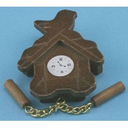 WOODEN CUCKOO CLOCK, BROWN