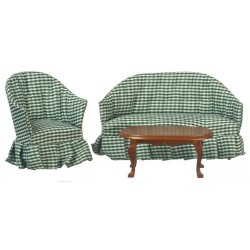 Gingham Green & Walnut Living Room Set