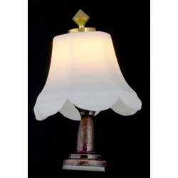 &MH642: TABLE LAMP, WHITE SHADE, 12 V