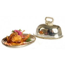 CHICKEN W/FRUITS ON METAL TRAY