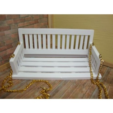 Miniature White Porch Swing Dollhouse Outdoor Furniture