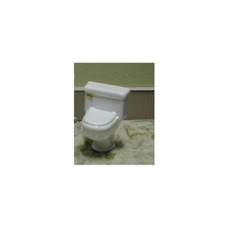 TOLIET, SILVER HANDLE, WHITE 1:12