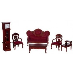 Victorian Living Room, Red, Mahogany