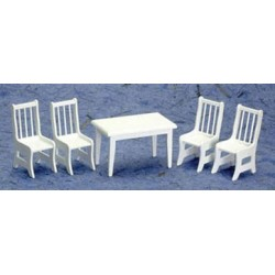 Table W/4 Chairs, White/cb